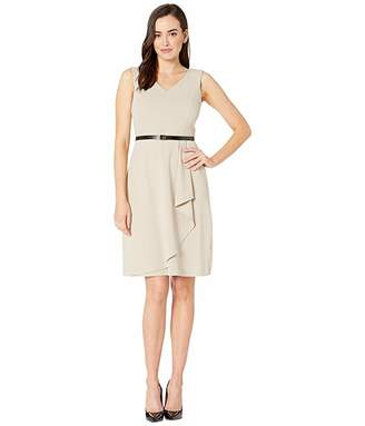Calvin Klein V-Neck Ruffle Hem Dress w Logo Belt