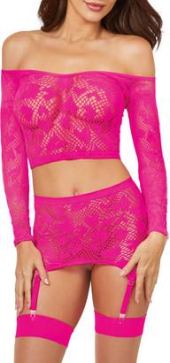 Dreamgirl Fishnet Heart Top & Garter Set