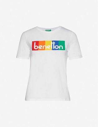 Benetton Brand-print striped cotton-jersey T-shirt