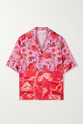 Peter Pilotto Piped Floral-print Satin-twill Shirt - Red