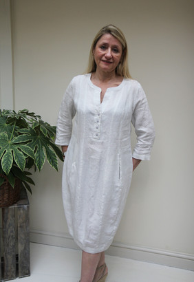 GR Nature - Ola Shift Linen Dress Grey Sky - Extra Large | linen | grey - Grey/Grey