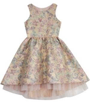 Rare Editions Little Girl Brocade Mesh Hem Dress