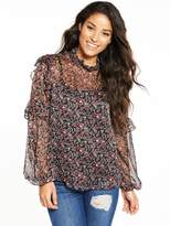 Fashion Union Herb Sheer Flirty Floral Blouse