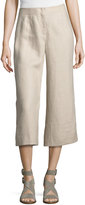 Lafayette 148 New York Charlton Cropped Linen Pants, Khaki