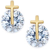 Giani Bernini 18k Gold-Plated Sterling Silver Cross & Cubic Zirconia Stud Earrings, Created for Macy's
