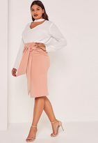 Missguided Nude Plus Size Tie Waist Midi Skirt
