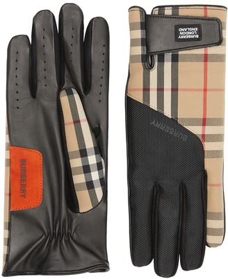 Burberry logo applique Vintage check leather gloves