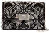 Ralph Lauren Geometric Beaded Suede Chain Shoulder Bag