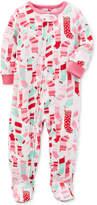 Carter's 1-Pc. Stocking-Print Footed Fleece Pajamas, Baby Girls (0-24 months)