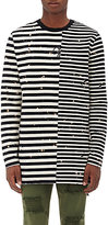 Off-White Men's Mixed-Stripe Cotton Distressed T-Shirt-BLACK