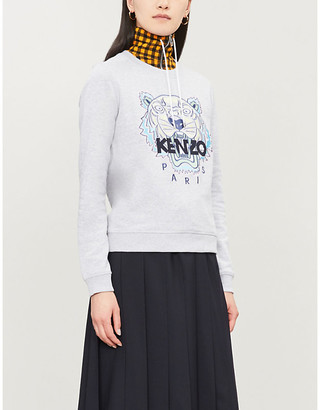 Kenzo Embroidered tiger cotton-jersey sweatshirt