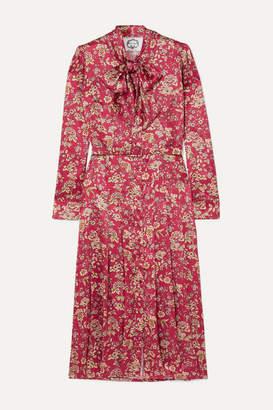 Evi Grintela Gilda Pussy-bow Floral-print Silk-satin Midi Dress - Pink