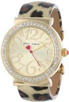 Betsey Johnson Women's BJ00254-01 Analog Metallic Leopard Printed Cuff Bracelet Watch