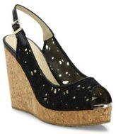 Jimmy Choo Prova Eyelet Cork Wedge Slingbacks