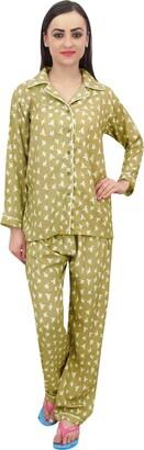Bimba Olive Green Bird Print Women Shirt with Pajama Pants 2 Pcs Nightwear - 22
