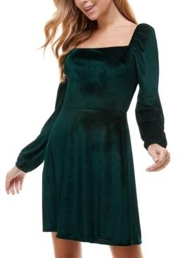 City Studios Juniors' Velvet Fit & Flare Dress