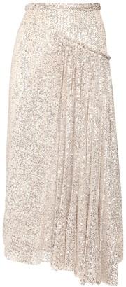 Rochas Asymmetric Sequined Midi Skirt