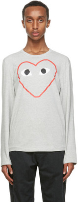 Comme des Garcons Grey Big Heart Long Sleeve T-Shirt