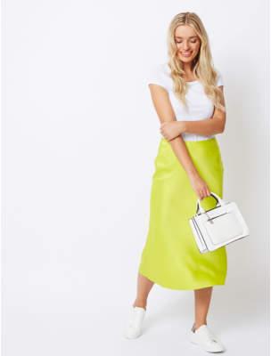 George Lime Green Satin Midi Skirt