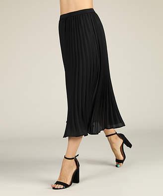 Suzanne Betro Women's Casual Skirts 101BLACK - Black Pleated Midi Skirt - Women & Plus