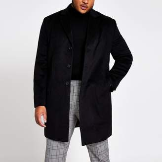 River Island Mens Big and Tall Black single breasted overcoat