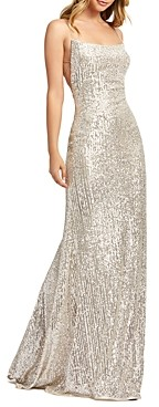 Mac Duggal Lace-Up Sequin Gown