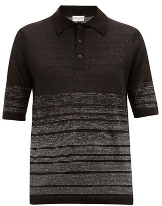 Saint Laurent Lurex-striped Linen-blend Knit Polo Shirt - Black Silver