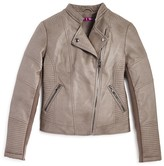 Aqua Girls' Quilted Faux Leather Moto Jacket - Sizes S-XL
