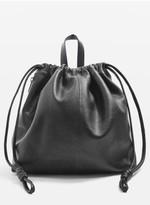 Topshop Leather Drawstring Backpack - Black