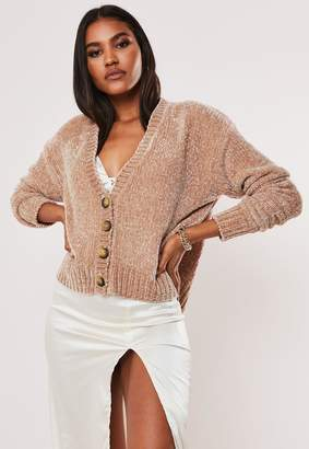 Missguided Rose Chenille Horn Button Knitted Cardigan