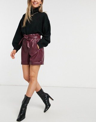 Vero Moda leather look shorts with paperbag waist in burgundy