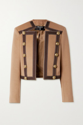 Balmain Button-embellished Cotton-trimmed Wool And Cashmere-blend Blazer - Camel
