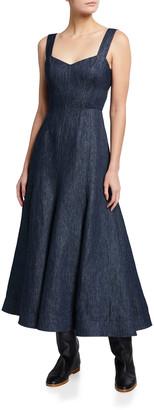 Gabriela Hearst Virginia Denim Cutout Midi Dress