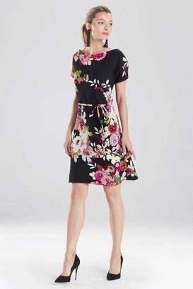 Natori Winter Peony Crepe Dress