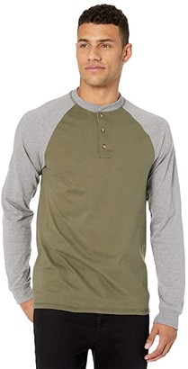 Hanes Beefy-T Long Sleeve Color Block Henley (Camouflage Green/Oxford Gray) Men's Clothing