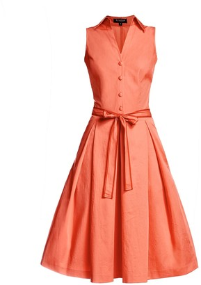 Rumour London Venice Satin Cotton Belted Flared Dress