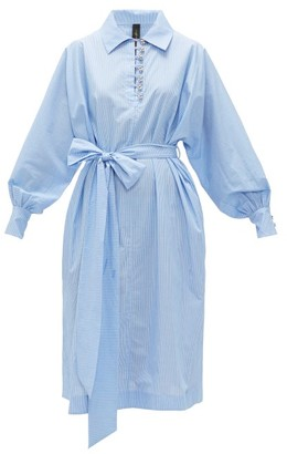 Romance Was Born Queen's Consort Striped-cotton Shirtdress - Womens - Blue White