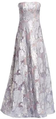 Rene Ruiz Collection Fil Coupe Strapless Crystal-Embellished Gown