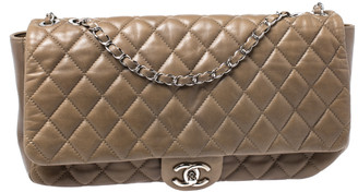 Chanel Khaki Brown Quilted Leather Maxi Classic Single Flap Bag with Rain Cover