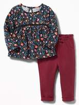 Old Navy 2-Piece Babydoll Top and Rolled-Cuff Pants Set for Baby
