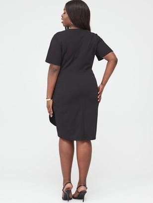 V By Very Curve Stretch Drape Detail Dress - Black