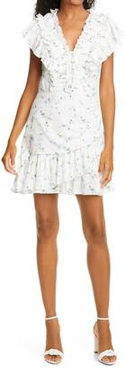 Rebecca Taylor Gaelle Floral Ruffle Minidress