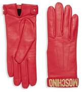 Moschino Leather Logo Gloves
