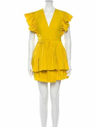 Ulla Johnson V-Neck Mini Dress Yellow