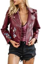 Simplee Apparel Simplee Women's Floral Embroidery PU Faux Leather Short Motorcycle Jacket Zipper