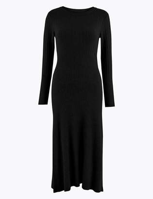 Marks and Spencer Ribbed Fit & Flare Knitted Midi Dress