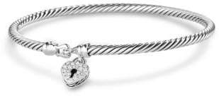 David Yurman Cable Collectibles Heart Lock Bracelet With Diamonds, 3Mm