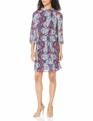 James & Erin Women's Printed High Neck Georgette Dress
