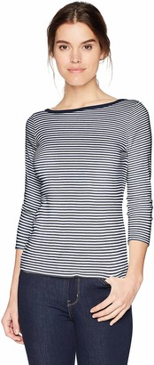 Three Dots Women's Montauk Stripe 3/4 SLV Short Tight Shirt