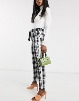 Asos DESIGN check side stripe tie waist trousers